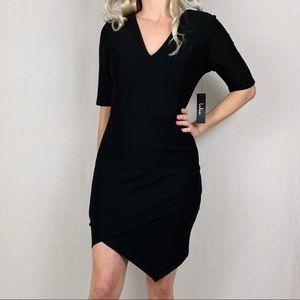 Black Asymmetrical Three-Quarter Sleeve Dress